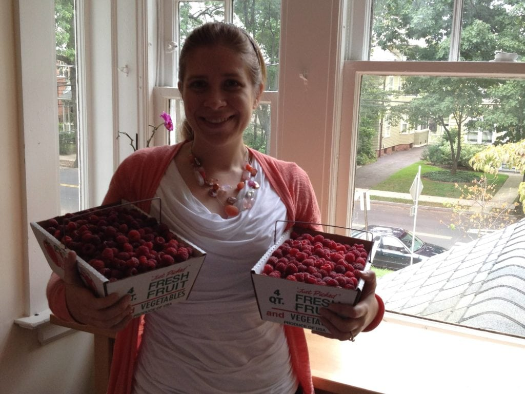Me with fresh picked raspberries