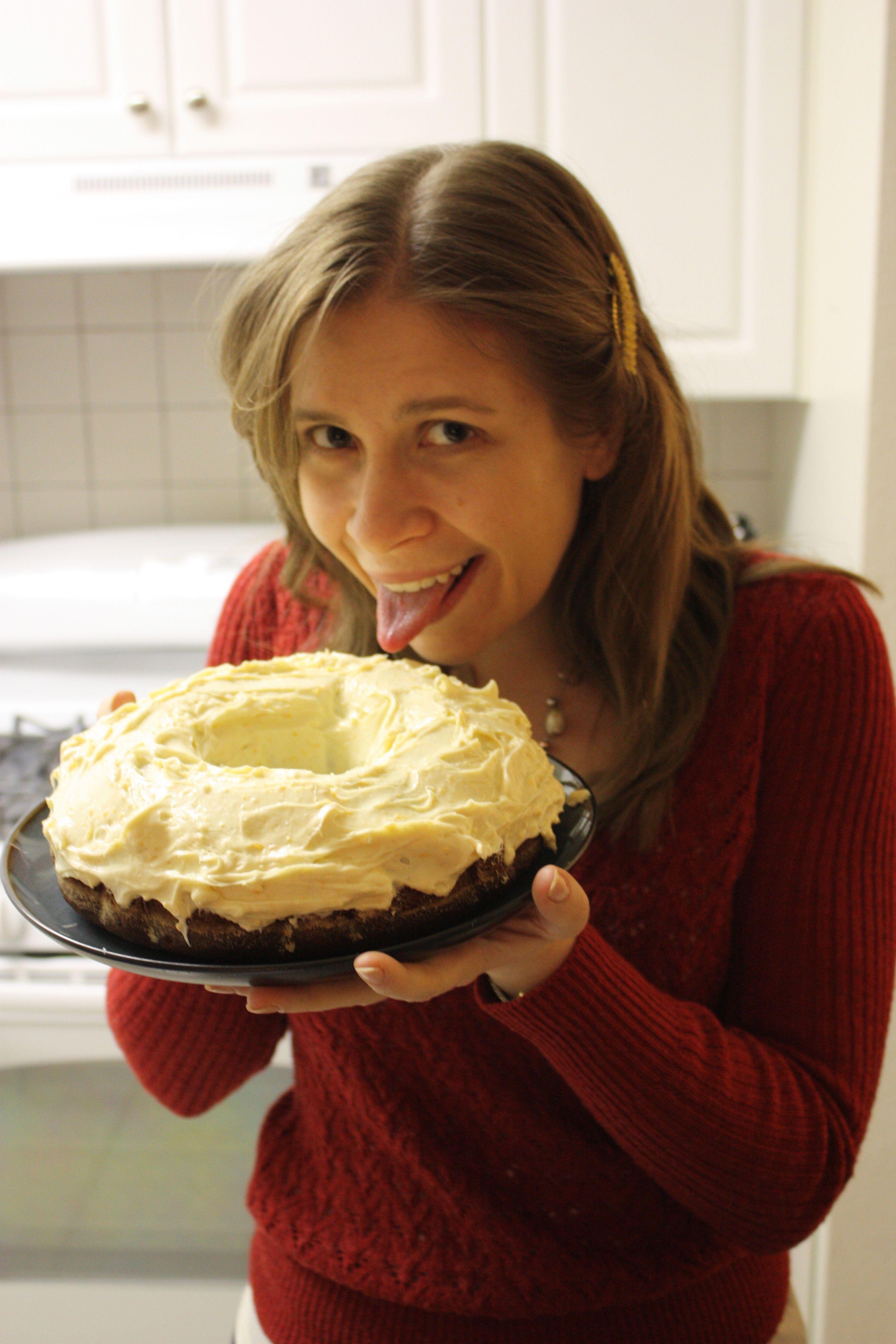 Karen with a delicious cake