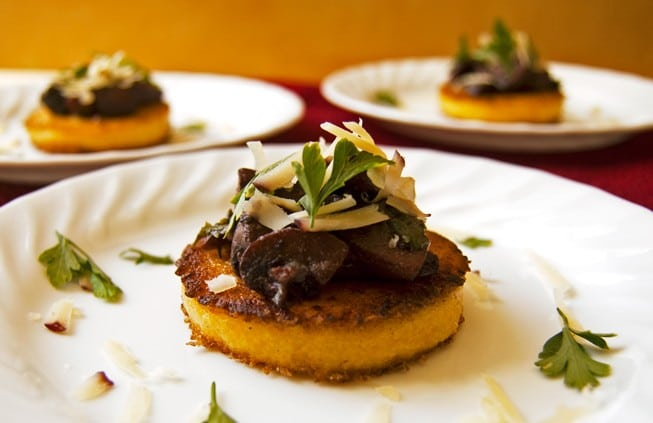Polenta Cakes w/ Red Wine Mushrooms - 2Teaspoons