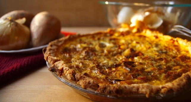 Roasted Sweet Potato, Caramelized Onion, And Gorgonzola Quiche Recipe ...
