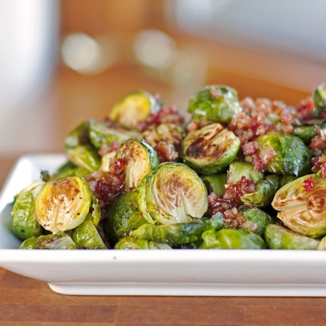 Roasted Brussels Sprouts with Maple Pancetta Bacon Glaze - 2Teaspoons