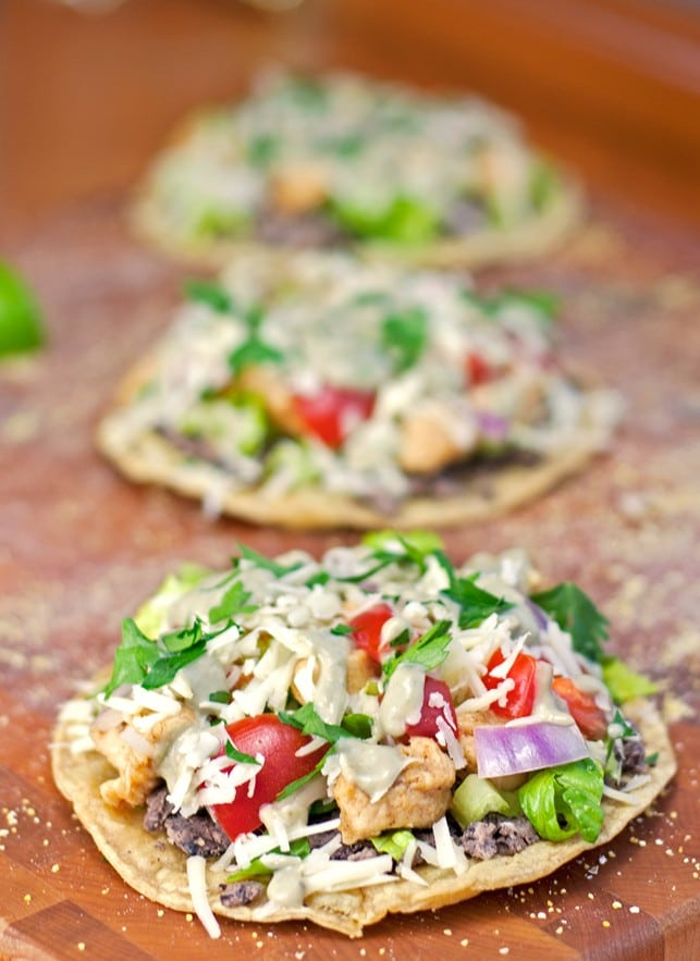 Chicken and Black Bean Tostadas with Avocado Cream Sauce