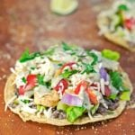 Chicken and Black Bean Tostadas with Avocado Cream Sauce - 2Teaspoons