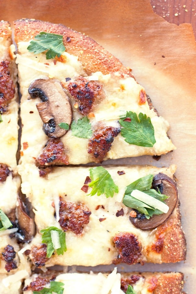 Sausage and Mushroom White Pizza - 2Teaspoons