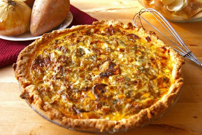 Roasted sweet potato, caramelized onion, and gorgonzola quiche ...