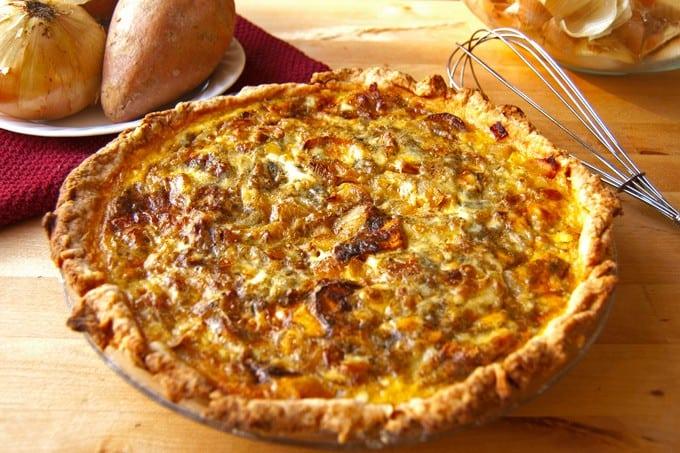 Roasted sweet potato, caramelized onion, and gorgonzola quiche - 2Teaspoons