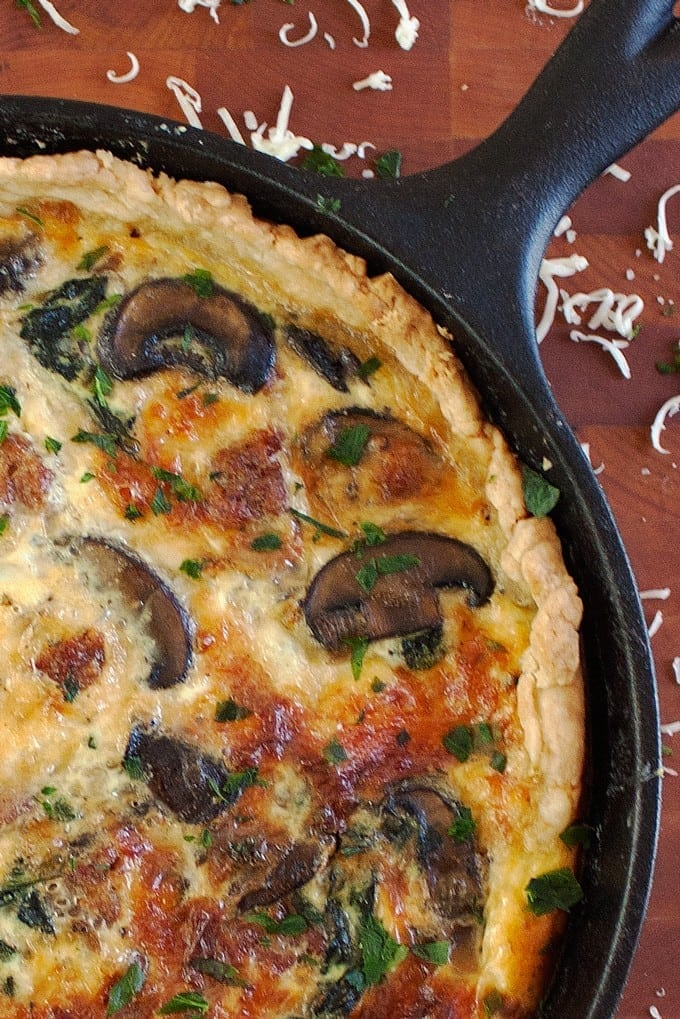Sausage, Mushroom, and Spinach Quiche - 2Teaspoons