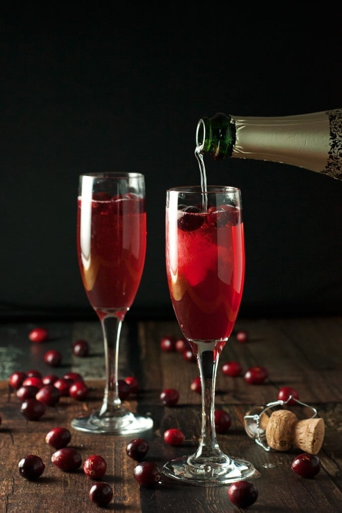 Cranberry champagne cocktails 2teaspoons for Cocktails made with champagne