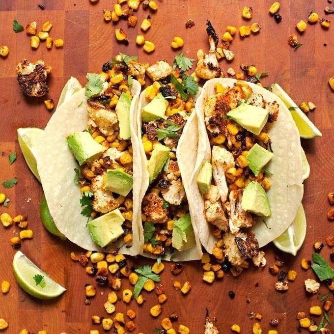 Roasted Corn and Cauliflower Tacos - 2Teaspoons