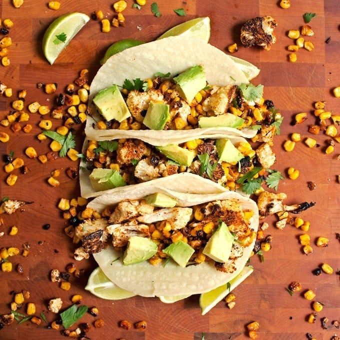roasted corn cauliflower tacos