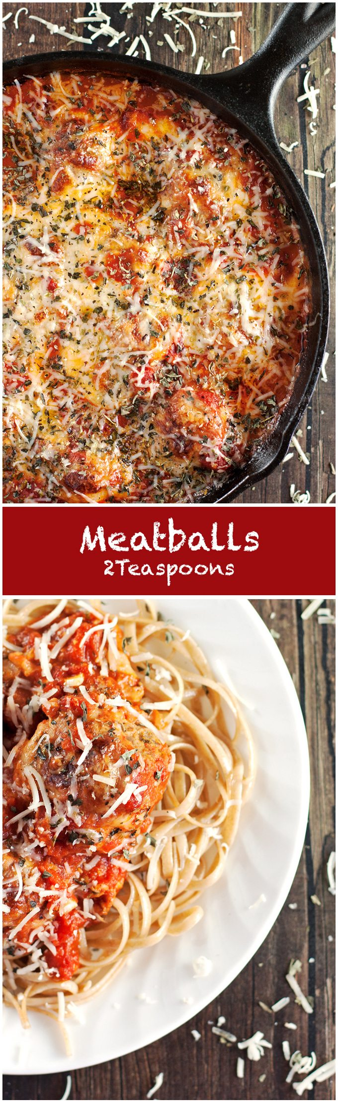Meatballs covered in homemade tomato sauce and smothered with melted cheese. We LOVE this hearty, meaty, tomato-y, cheesy, awesome, classic dinner recipe - 2teaspoons.com