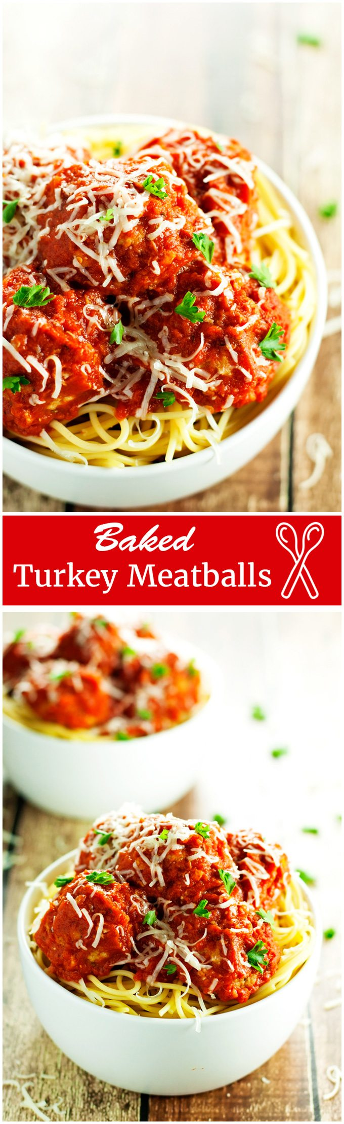 baked turkey meatballs served over spaghetti, smothered in homemade tomato sauce and topped with parmesan cheese.