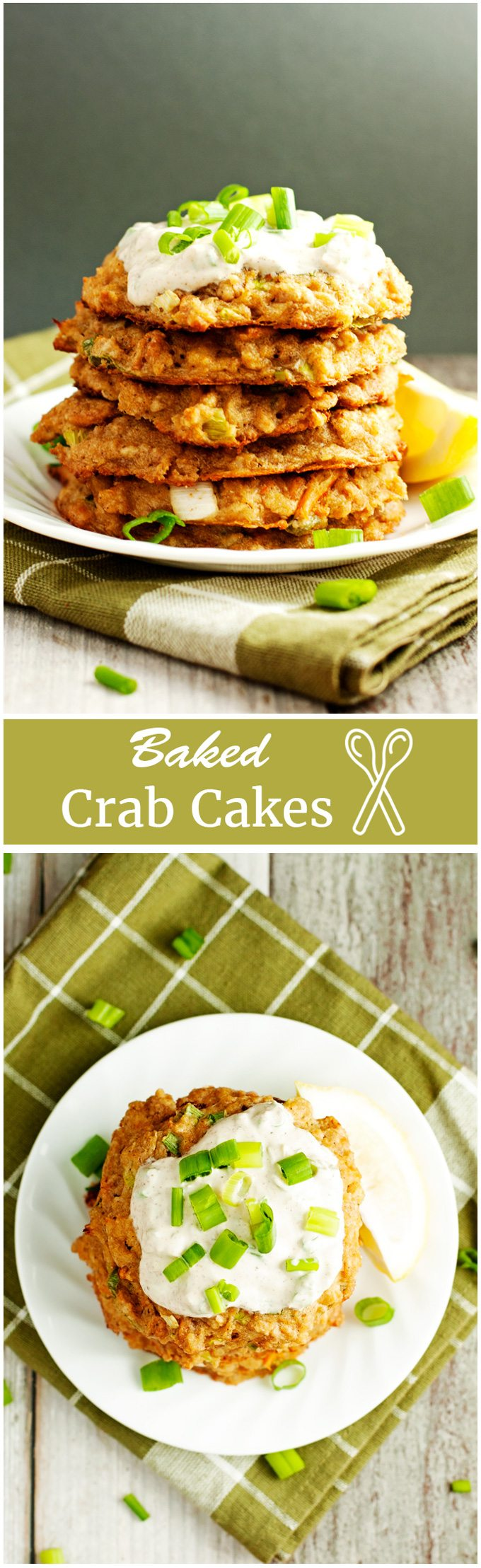 Baked crab cakes, stacked and served.