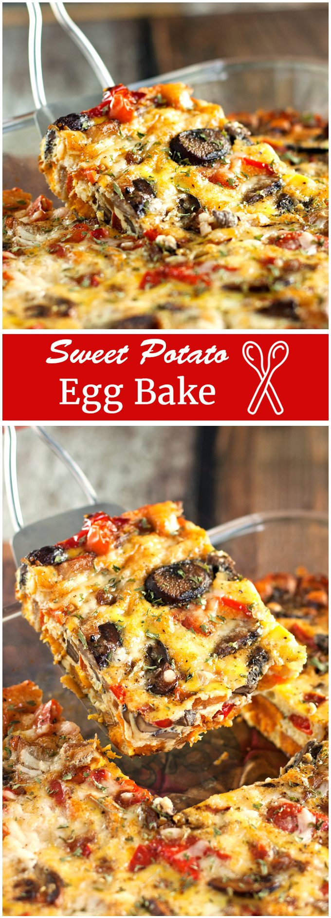 Egg bake Savory eggs packed with sweet potatoes, mushrooms, onions, peppers, and cheese - bursting with delicious flavors and colors!