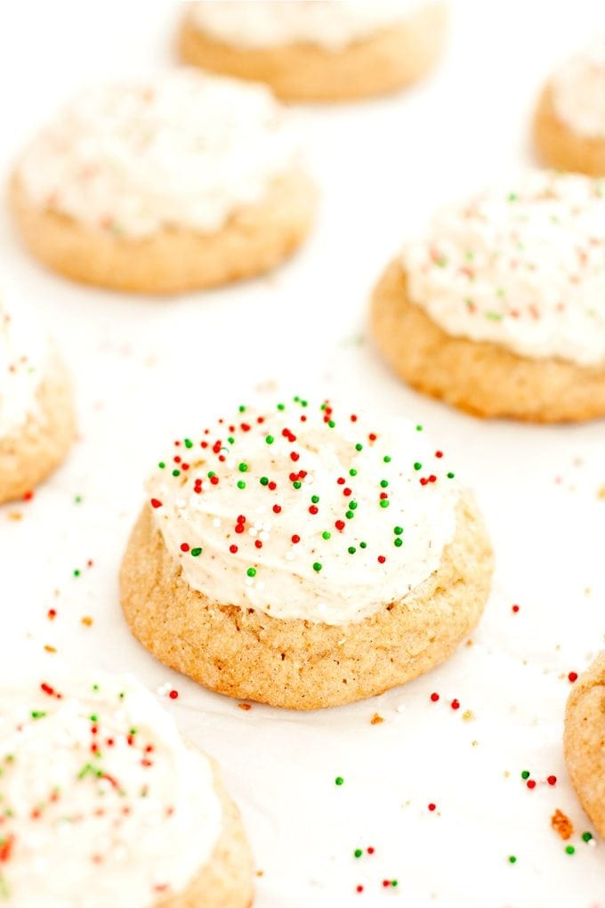 eggnog cookies with festive red and green sprinkles