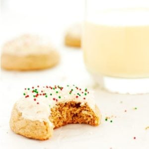 Eggnog cookie served with a glass of eggnog