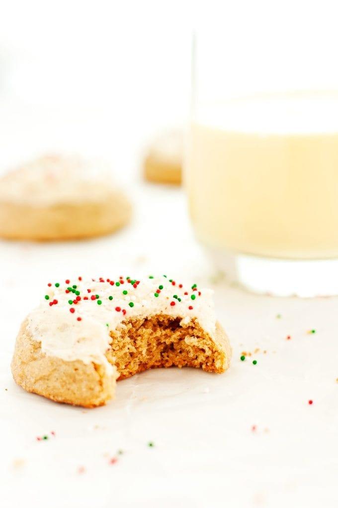 eggnog cookie served with a glass of eggnog
