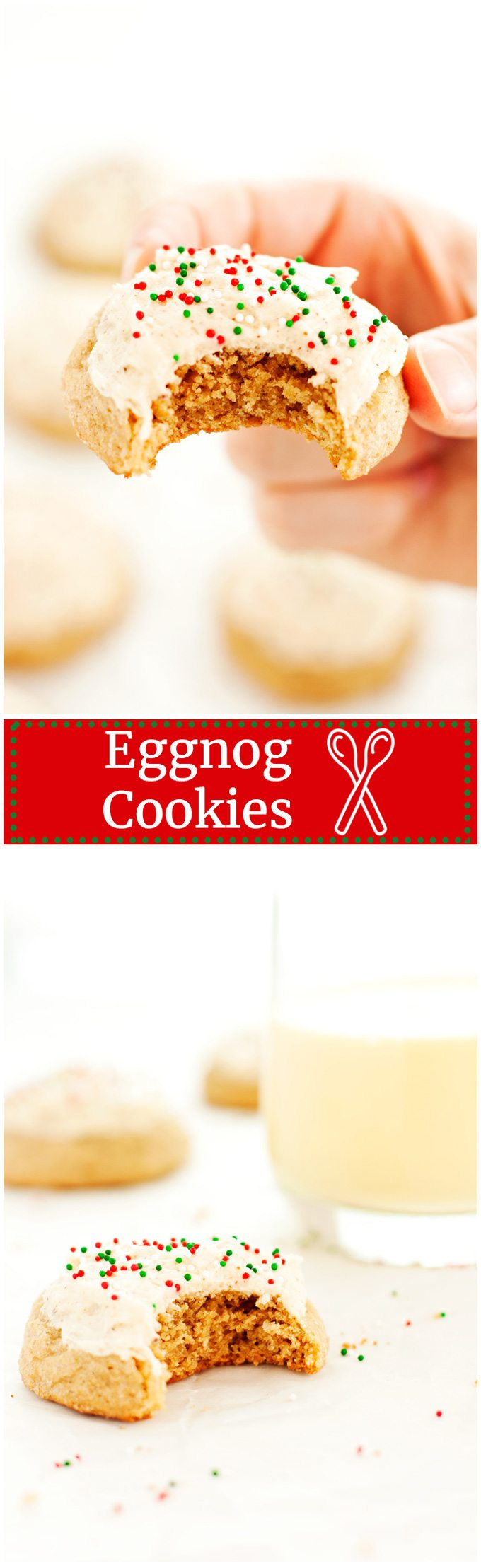 Eggnog cookies frosted with nutmeg and covered in festive red and green sprinkles