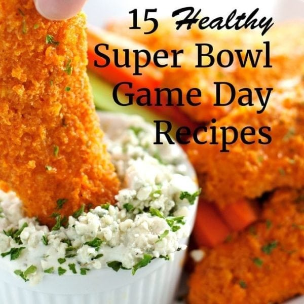 healthy super bowl game day recipes, baked buffalo chicken tenders dipped in blue cheese