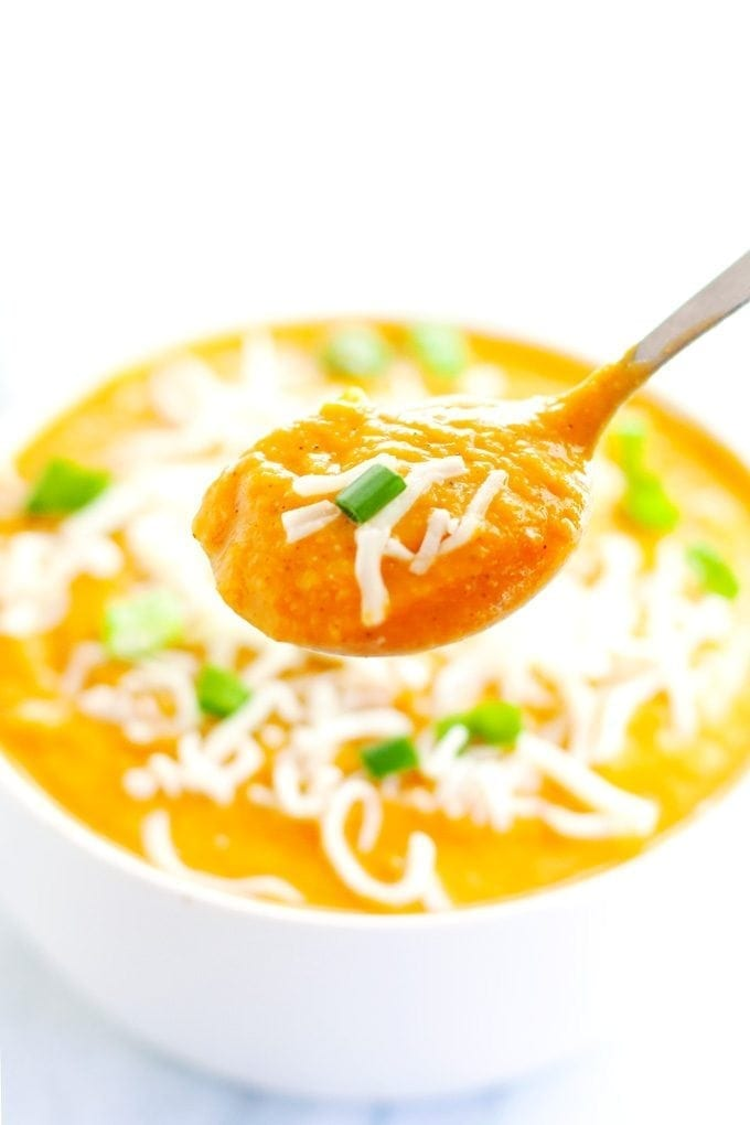 spoonful of cauliflower sweet potato soup