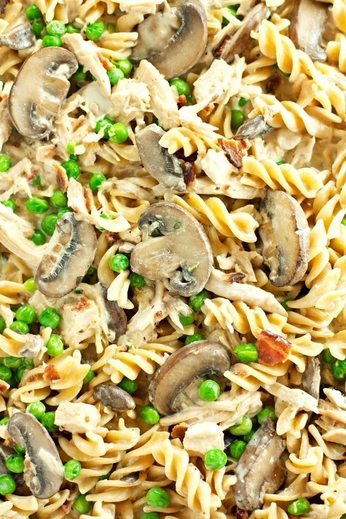 close up of chicken tetrazzini packed with chicken, mushrooms, peas, and bacon.