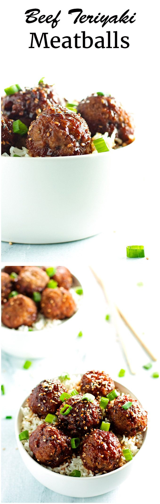 juicy, flavorful beef teriyaki meatballs served over rice and topped with sesame seeds and green onions.