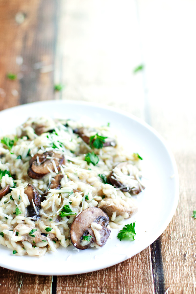 plate of creamy chicken and mushroom risotto